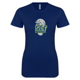 Next Level Ladies SoftStyle Junior Fitted Navy Tee-SCF Manatees