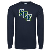 Navy Long Sleeve T Shirt-SCF Distressed