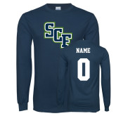Navy Long Sleeve T Shirt-SCF, Custom Tee w/ Name and #