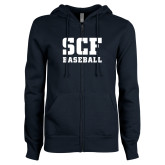 ENZA Ladies Navy Fleece Full Zip Hoodie-Baseball