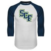 White/Navy Raglan Baseball T Shirt-SCF