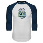 White/Navy Raglan Baseball T Shirt-SCF Manatees