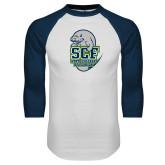 White/Navy Raglan Baseball T Shirt-SCF State College Florida