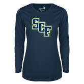Ladies Syntrel Performance Navy Longsleeve Shirt-SCF