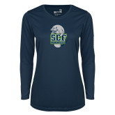 Ladies Syntrel Performance Navy Longsleeve Shirt-SCF Manatees
