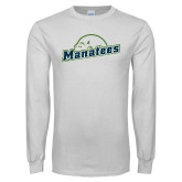 White Long Sleeve T Shirt-Manatees