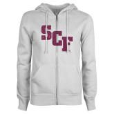 ENZA Ladies White Fleece Full Zip Hoodie-SCF Pink Glitter