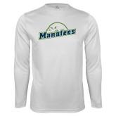 Performance White Longsleeve Shirt-Manatees
