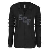 ENZA Ladies Black Light Weight Fleece Full Zip Hoodie-SCF Graphite Soft Glitter