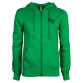 ENZA Ladies Kelly Green Fleece Full Zip Hoodie-SCF