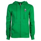 ENZA Ladies Kelly Green Fleece Full Zip Hoodie-SCF Manatees