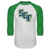 White/Kelly Green Raglan Baseball T Shirt-SCF
