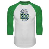 White/Kelly Green Raglan Baseball T Shirt-SCF Manatees