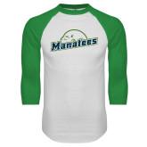 White/Kelly Green Raglan Baseball T Shirt-Manatees