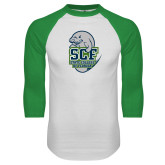 White/Kelly Green Raglan Baseball T Shirt-SCF State College Florida