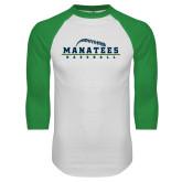 White/Kelly Green Raglan Baseball T Shirt-Baseball