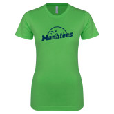 Next Level Ladies SoftStyle Junior Fitted Kelly Green Tee-Manatees