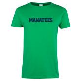 Ladies Kelly Green T Shirt-Manatees