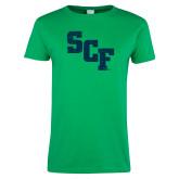 Ladies Kelly Green T Shirt-SCF Distressed