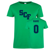 Ladies Kelly Green T Shirt-SCF, Custom Tee w/ Name and #