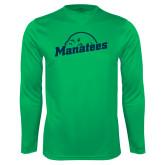 Performance Kelly Green Longsleeve Shirt-Manatees