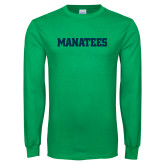 Kelly Green Long Sleeve T Shirt-Manatees