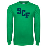Kelly Green Long Sleeve T Shirt-SCF Distressed