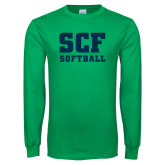 Kelly Green Long Sleeve T Shirt-Softball