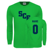 Kelly Green Long Sleeve T Shirt-SCF, Custom Tee w/ Name and #