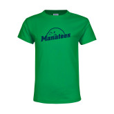 Youth Kelly Green T Shirt-Manatees