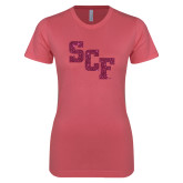Next Level Ladies SoftStyle Junior Fitted Pink Tee-SCF Hot Pink Glitter