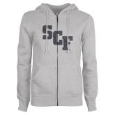 ENZA Ladies Grey Fleece Full Zip Hoodie-SCF Graphite Soft Glitter