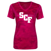 Ladies Pink Raspberry Camohex Performance Tee-SCF