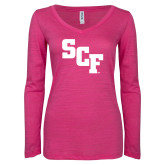 ENZA Ladies Hot Pink Long Sleeve V Neck Tee-SCF
