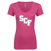 Next Level Ladies Junior Fit Ideal V Pink Tee-SCF