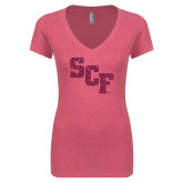 Next Level Ladies Vintage Pink Tri Blend V Neck Tee-SCF Hot Pink Glitter