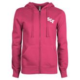 ENZA Ladies Fuchsia Fleece Full Zip Hoodie-SCF
