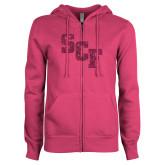 ENZA Ladies Fuchsia Fleece Full Zip Hoodie-SCF Hot Pink Glitter