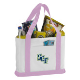 Contender White/Pink Canvas Tote-SCF