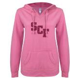 ENZA Ladies Hot Pink V Notch Raw Edge Fleece Hoodie-SCF Hot Pink Glitter