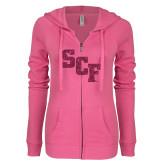 ENZA Ladies Hot Pink Light Weight Fleece Full Zip Hoodie-SCF Hot Pink Glitter