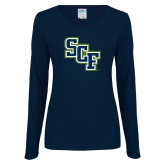 Ladies Navy Long Sleeve V Neck T Shirt-SCF
