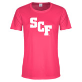 Ladies Performance Hot Pink Tee-SCF