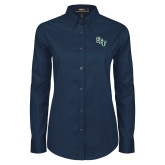 Ladies Navy Twill Button Down Long Sleeve-SCF