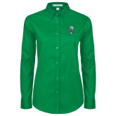 Ladies Kelly Green Twill Button Down Long Sleeve-SCF Manatees