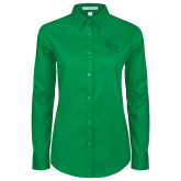 Ladies Kelly Green Twill Button Down Long Sleeve-SCF
