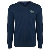 Classic Mens V Neck Navy Sweater-SCF