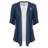 Ladies Navy Drape Front Cardigan-SCF