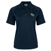 Ladies Navy Textured Saddle Shoulder Polo-SCF
