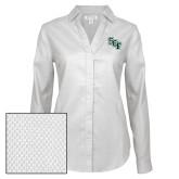 Ladies Red House Diamond Dobby White Long Sleeve Shirt-SCF